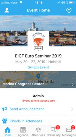 Whova app - EICF Helsinki May 2019